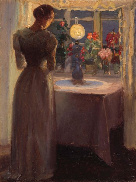 Anna Ancher~Young girl in front of a - Old master image
