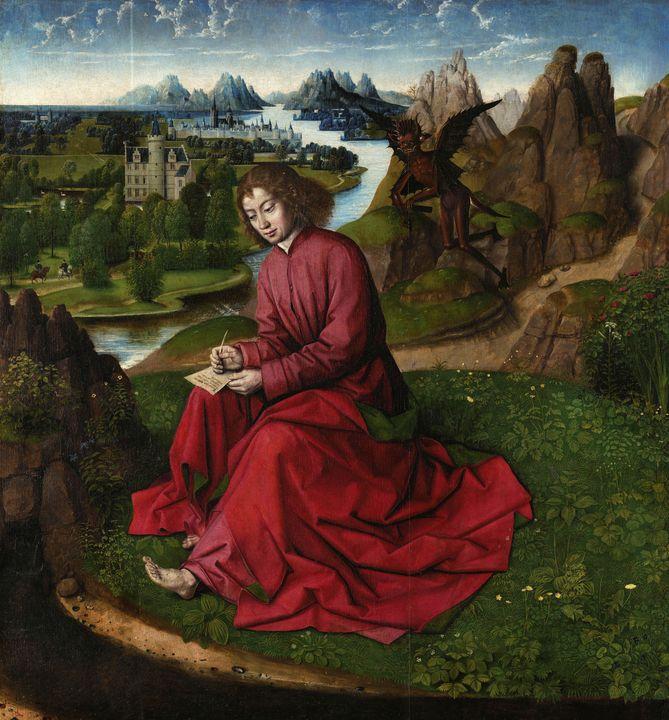 Anonymous~Saint John writing the Gos - Old master image
