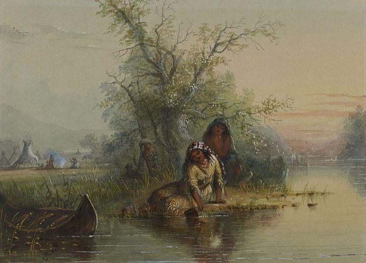 Alfred Jacob Miller~Indian Encampmen - Old master image