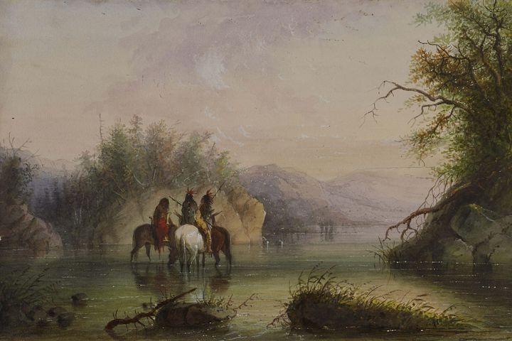 Alfred Jacob Miller~River Scene-Wate - Old master image