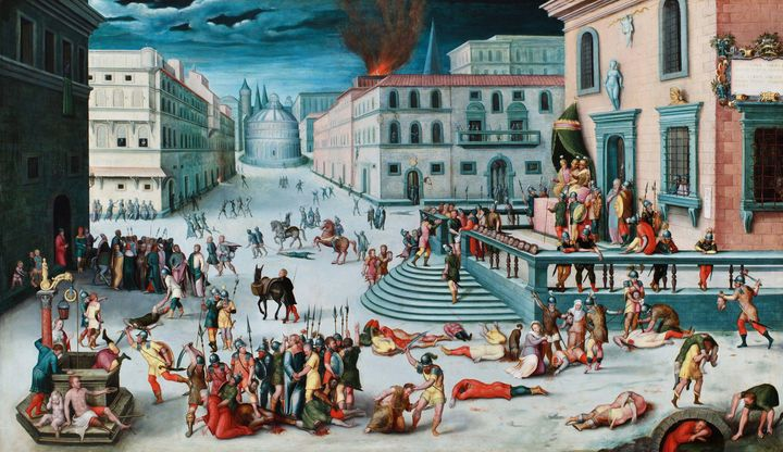 Antoine Caron~The Massacre of the Tr - Old master image