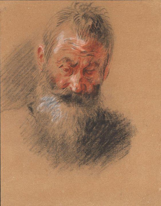 Antoine Watteau~Head of an Old Beard - Old master image