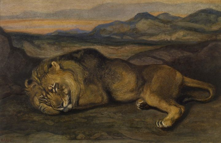 Antoine-Louis Barry~Large Lion - Old master image