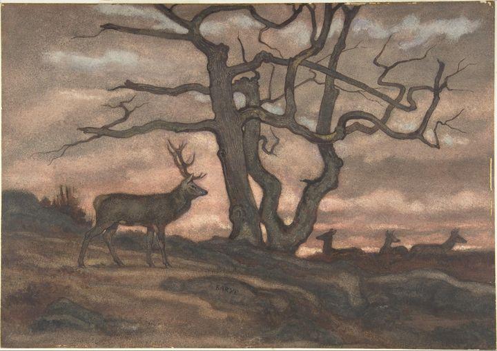 Antoine-Louis Barye~Deer and Tree Ag - Old master image