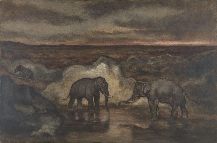 Antoine-Louis Barye~Elephants by a P - Old master image