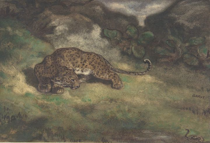 Antoine-Louis Barye~Leopard and Serp - Old master image