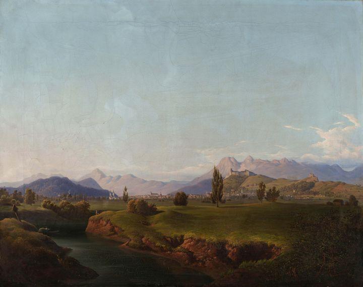 Anton Karinger~Ljubljana from the Iž - Old master image