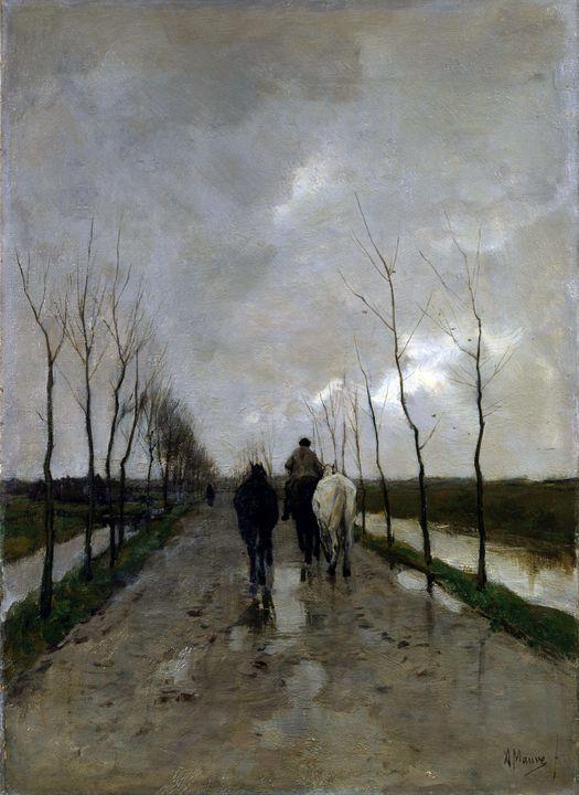Anton Mauve~A Dutch Road - Old master image