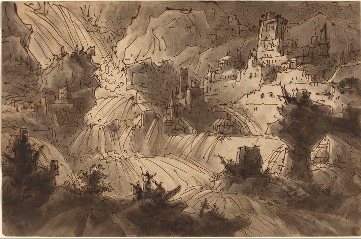 Antonio Basoli~Mountain Torrents Flo - Old master image