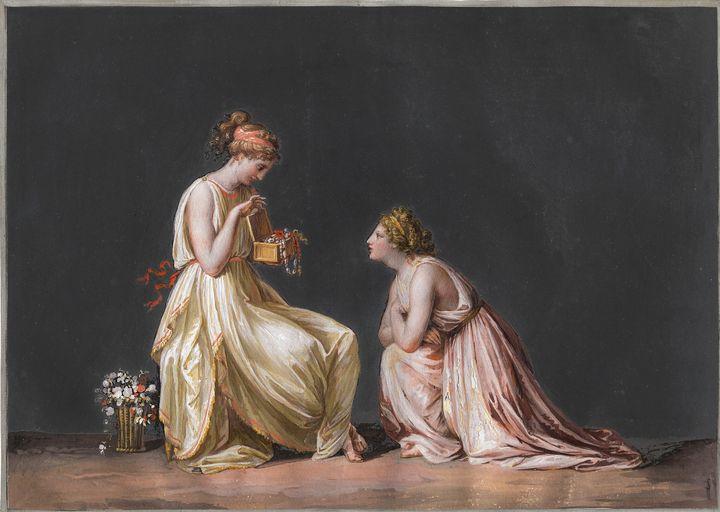 Antonio Canova~Two nymphs look at a - Old master image