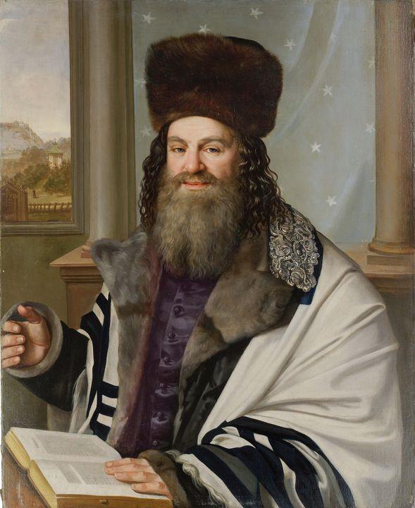 Antonín Machek~Portrait of Rabbi Sol - Old master image