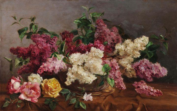 António José da Costa~Rose lilacs - Old master image
