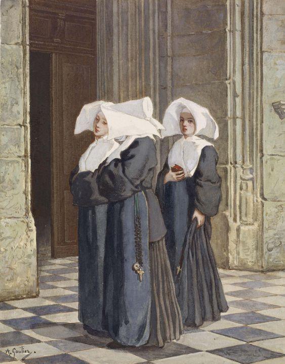 Armand Gautier~Three Nuns in the Por - Old master image