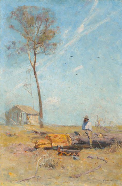Arthur Streeton~The selector's hut ( - Old master image