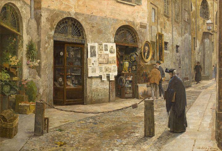 Arturo Ferrari~In the Old Street (Vi - Old master image