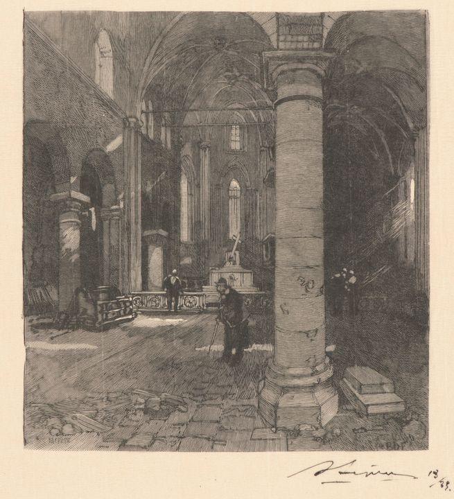 Auguste-Louis Lepère~Church Interior - Old master image