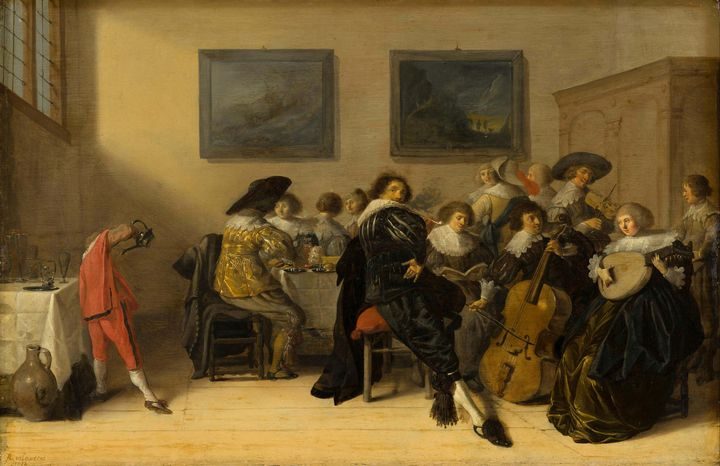 Anthonie Palamedes~Merry Company Din - Old master image