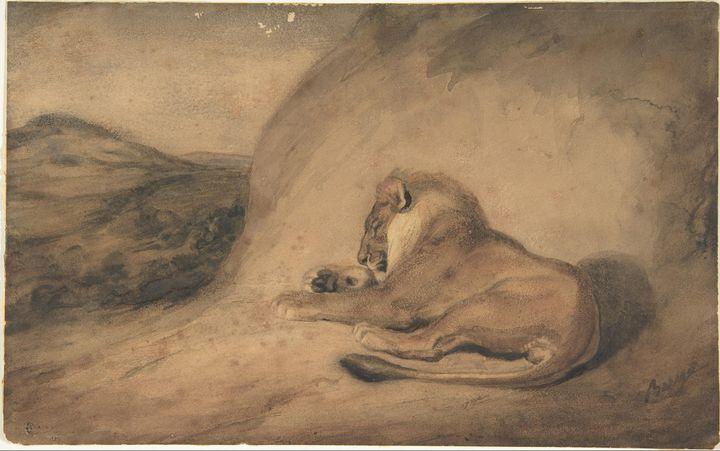 Antoine-Louis Barye~Lion Resting - Old master image