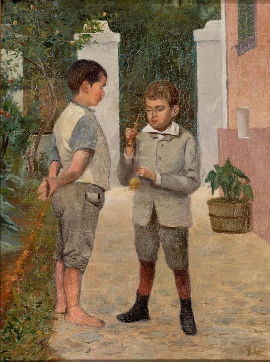 Belmiro de Almeida~Two Boys Playing - Old master image