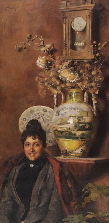 Belmiro de Almeida~Vaso com flores - Old master image