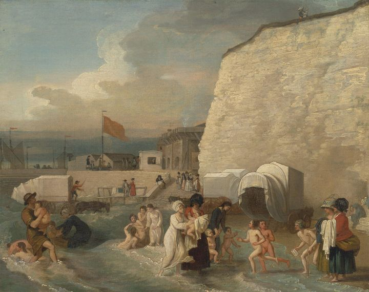 Benjamin West~The Bathing Place at R - Old master image