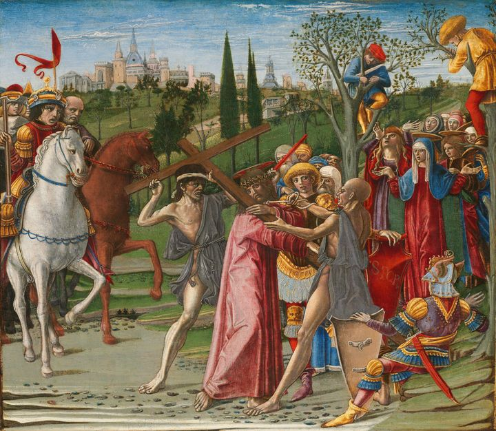 Benvenuto di Giovanni~Christ Carryin - Old master image