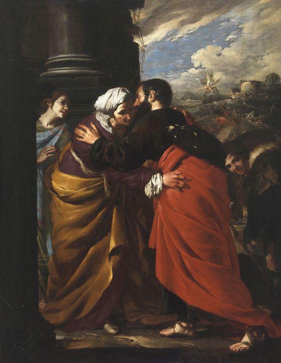 Bernardo Cavallino~Meeting of Anne a - Old master image