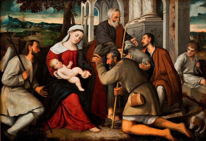 Bonifazio Veronese~The Adoration of - Old master image