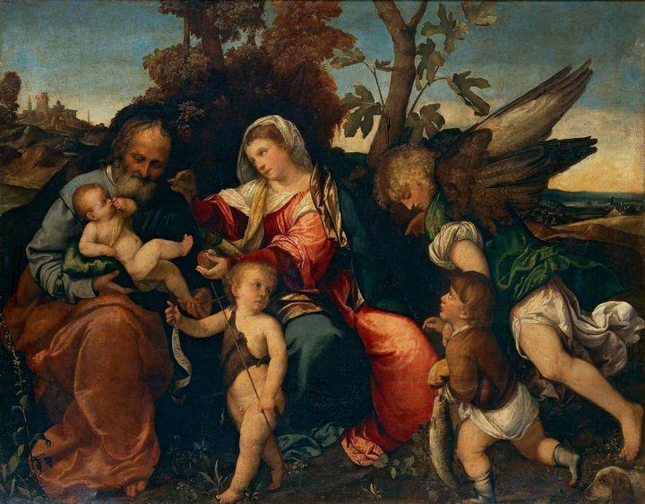 Bonifazio Veronese~The Holy Family w - Old master image