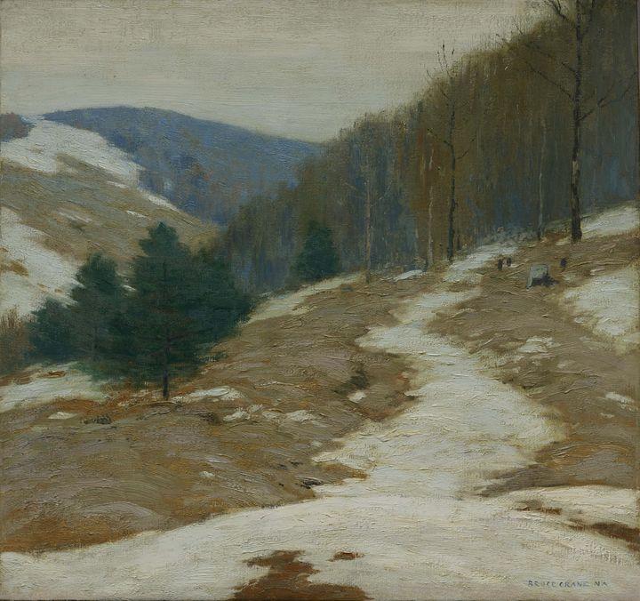 Bruce Crane~Lingering Winter - Old master image
