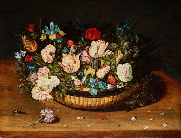 c. 1615~Basket of Flowers - Old master image