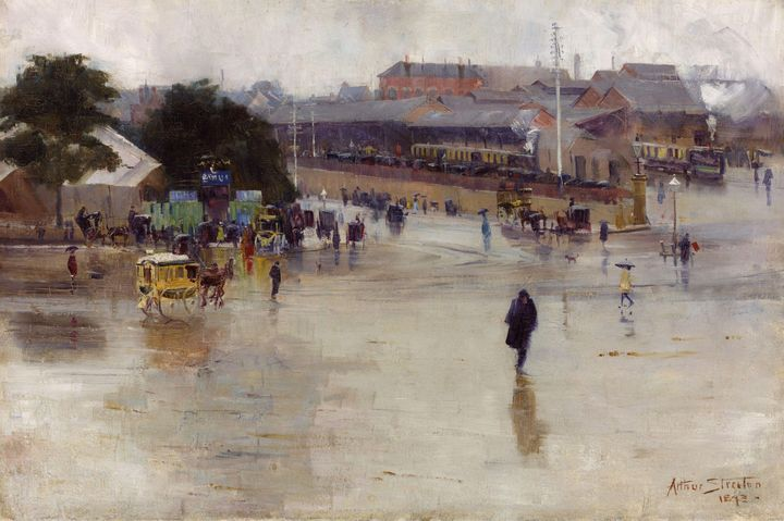 Arthur Streeton~The railway station, - Old master image