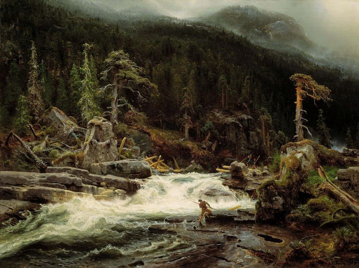 August Cappelen~Waterfall in Telemar - Old master image
