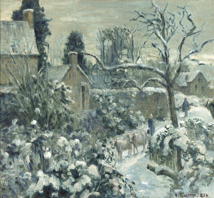 Camille Pissarro~Snowscape with Cows - Old master image