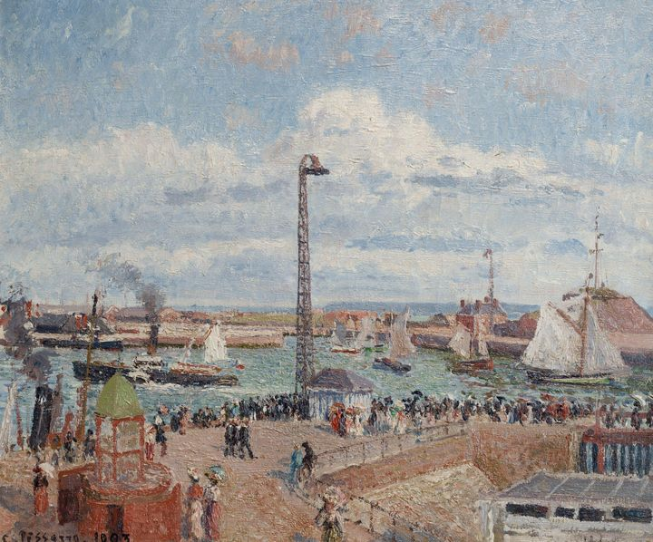 Camille Pissarro~The Pilots' Jetty a - Old master image