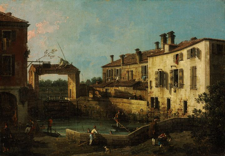 Canaletto~The Lock at Dolo - Old master image