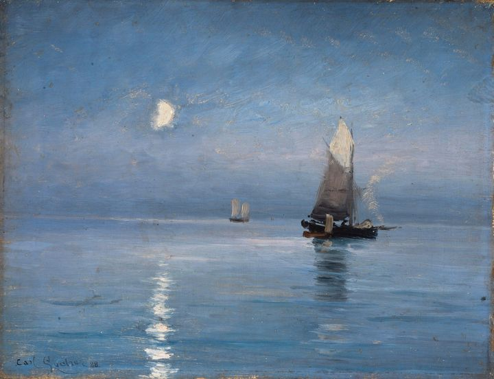 Carl Locher~Fishing cutters in the m - Old master image