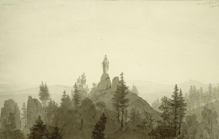 Caspar David Friedrich~Statue of the - Old master image