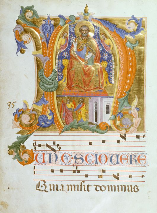 Cenni di Francesco~Initial N with Sa - Old master image