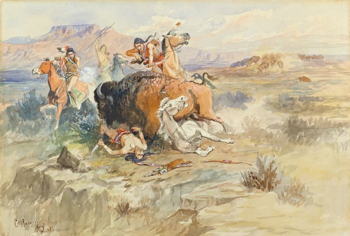 Charles Marion Russell~Buffalo Hunt - Old master image