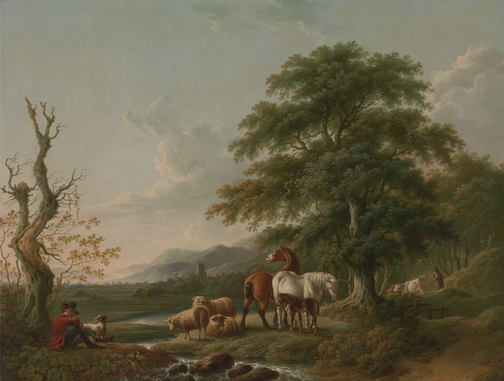 Charles Towne~Landscape with a Sheph - Old master image
