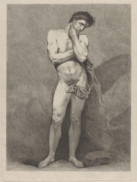 Charles-André van Loo~Standing Man i - Old master image