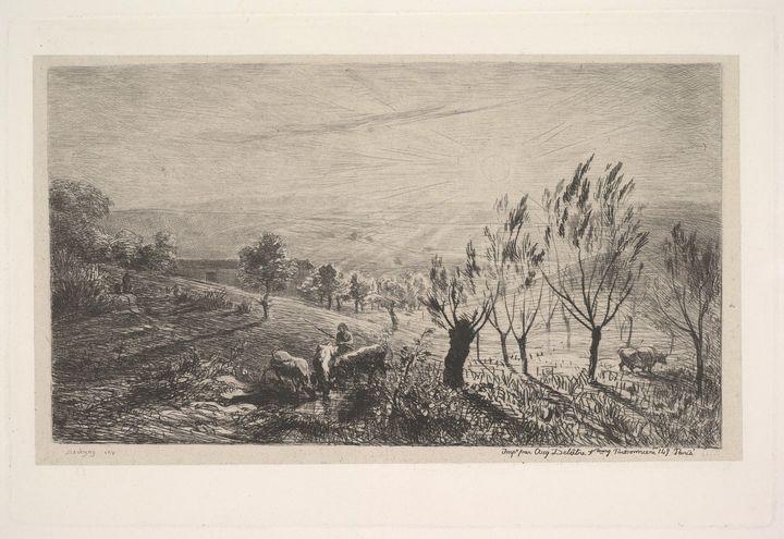 Charles-François Daubigny~Sunrise - Old master image