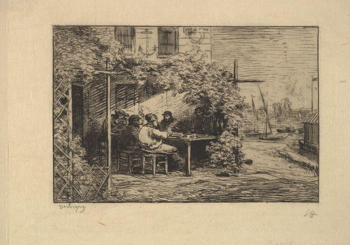 Charles-François Daubigny~The Farewe - Old master image