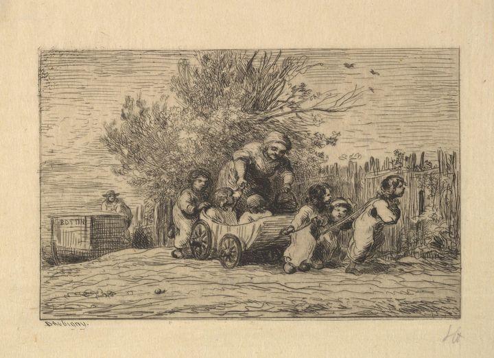 Charles-François Daubigny~The Heirs - Old master image