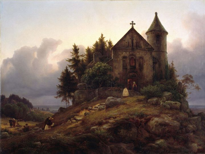 Carl Friedrich Lessing~The forest ch - Old master image