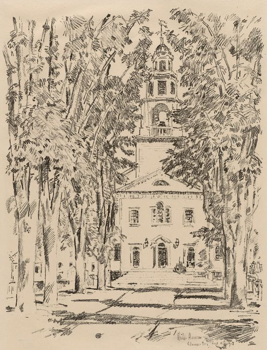 Childe Hassam~Colonial Church, Glouc - Old master image