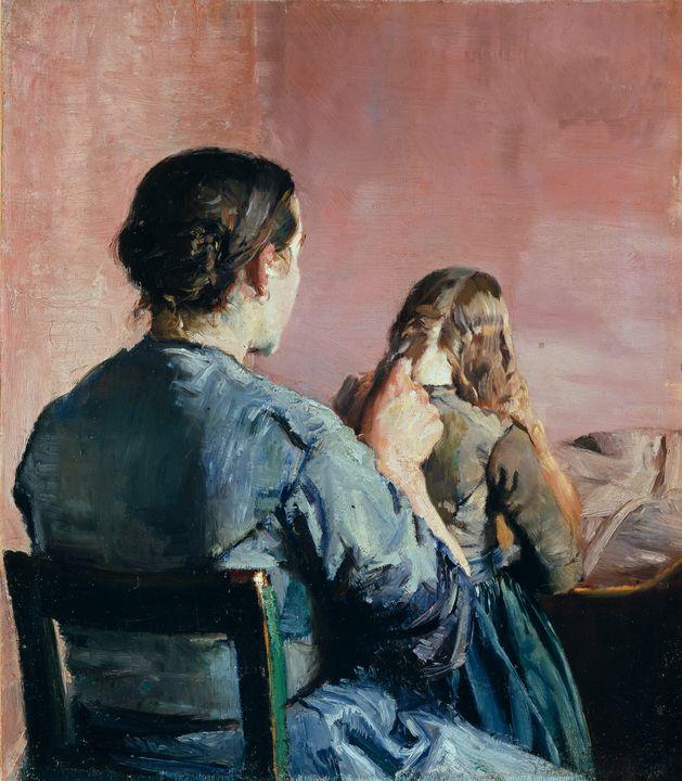 Christian Krohg~Braiding her Hair - Old master image