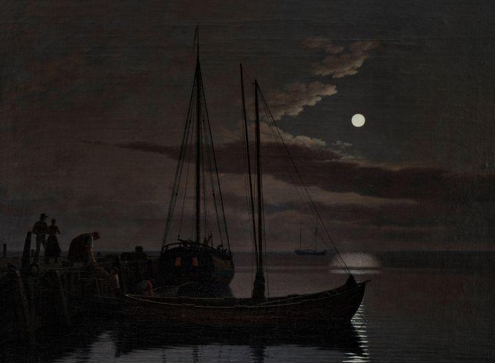 Christoffer Wilhelm Eckersberg~Moonl - Old master image