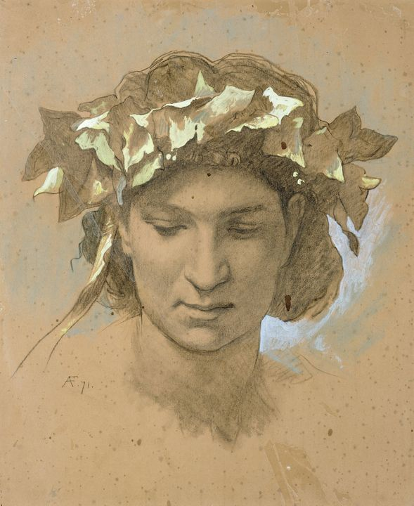 Anselm Feuerbach~Female head, crowne - Old master image